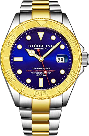 Mens Swiss Automatic Stainless Steel Professional DEPTHMASTER Dive Watch, 200 Meters Water Resistant, Brushed and Polished Bracelet with Divers Safety Clasp ...