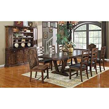 dining table 10 chairs. emerald home d942dc-10-k castle gate dining table kit, pine em- 10 chairs