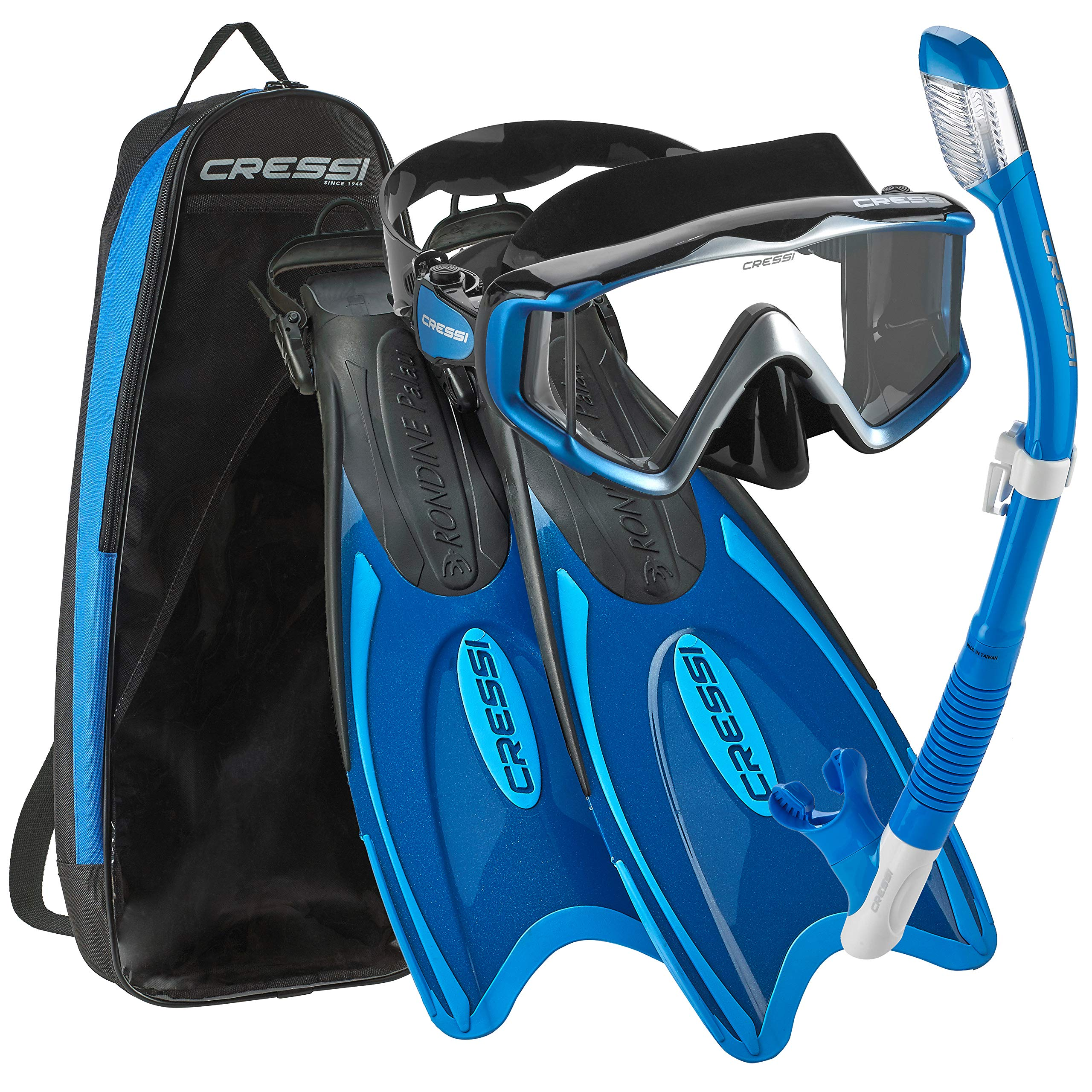 Cressi Palau Traveling Premium Snorkel Set, Panoramic Wide View Adult Diving Snorkeling Mask, Desert Dry Snorkel, Adjustable Fins, Travel Gear Bag - Metallic Blue - X-Small/Small by Cressi