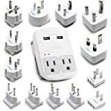 International Plug Adapter Kit, Ceptics World Safest Grounded 13 Adaptor Set Dual USB Ports - Travel Anywhere - Business…