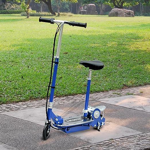 HOMCOM Patinete Eléctrico Scooter Plegable con Manillar y Asiento Ajustable Tipo Monopatín con Freno y Caballete 120W Carga 50kg 81.5x37x96cm