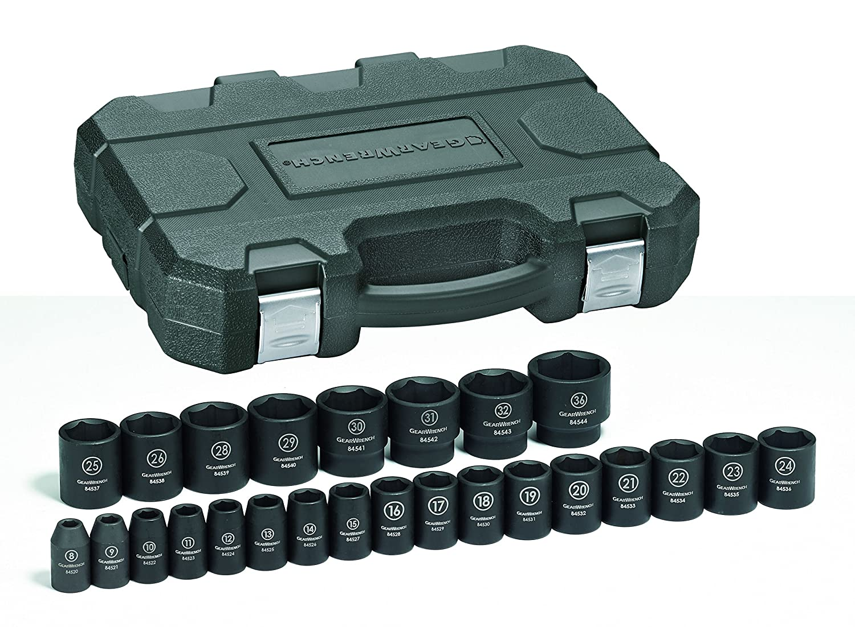 GearWrench 84933N 25 Pc 1//2 Drive 6 Point Metric Impact Socket Set