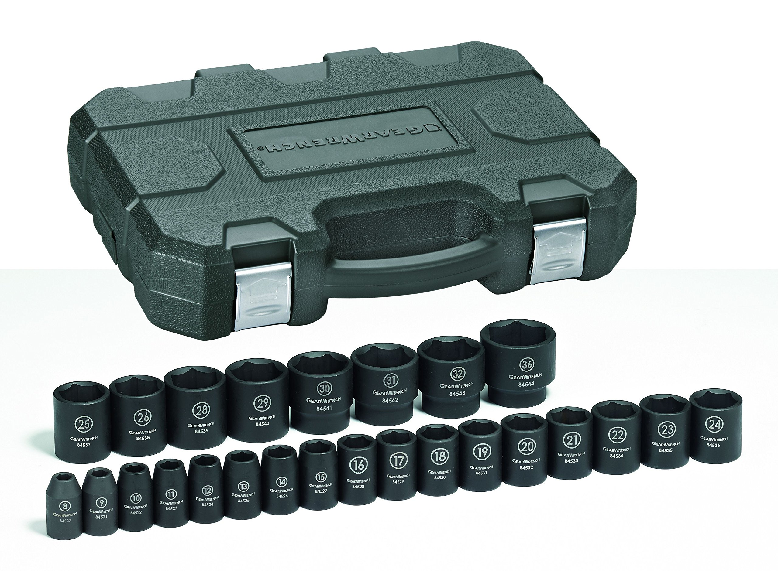 GEARWRENCH 25 Pc. 1/2'' Drive 6 Point Standard Impact Metric Socket Set - 84933N by GearWrench