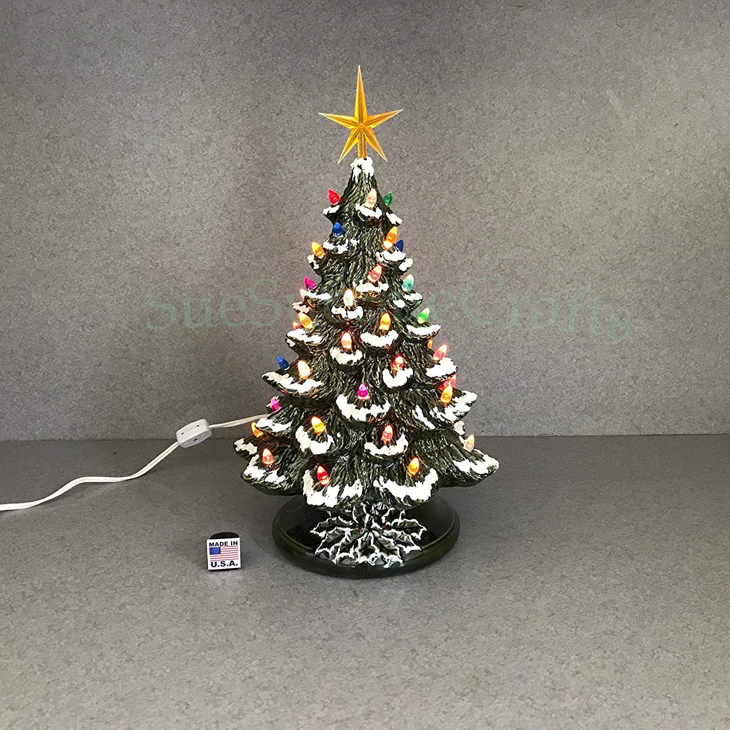 Ceramic Christmas Tree With Snow.Traditional Green Ceramic Christmas Tree With Snow 15 Inch Tabletop Electric T81gs