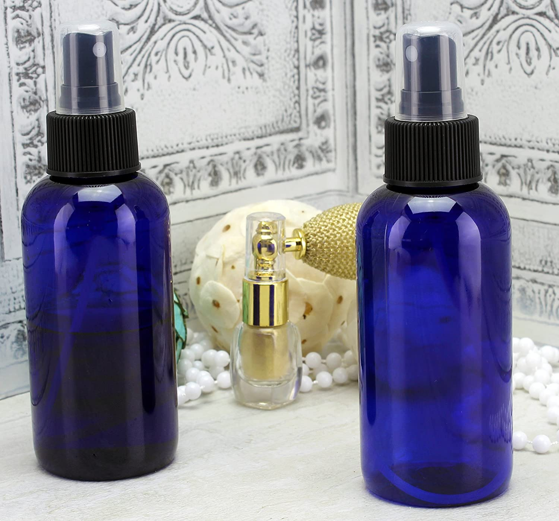 Labels Included; PET #1 Plastic Bottles ; BPA-Free Plastic Spritzer Bottles 4oz Blue PLASTIC Fine Mist Spray Bottles 12-Pack w//Black Sprayers