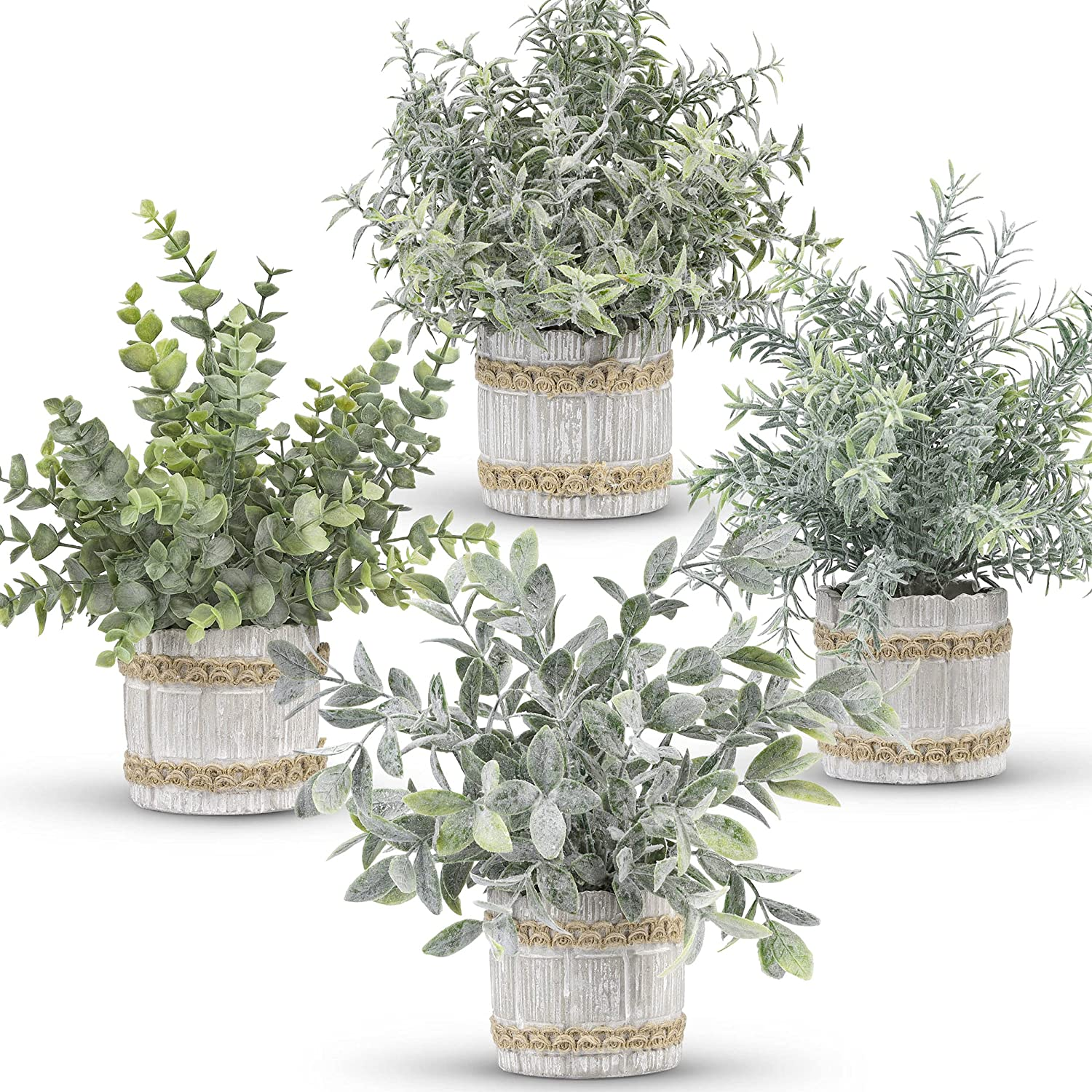 Der Rose 4 Packs Small Fake Plants Artificial Greenery Potted Plants for Home Décor Indoor