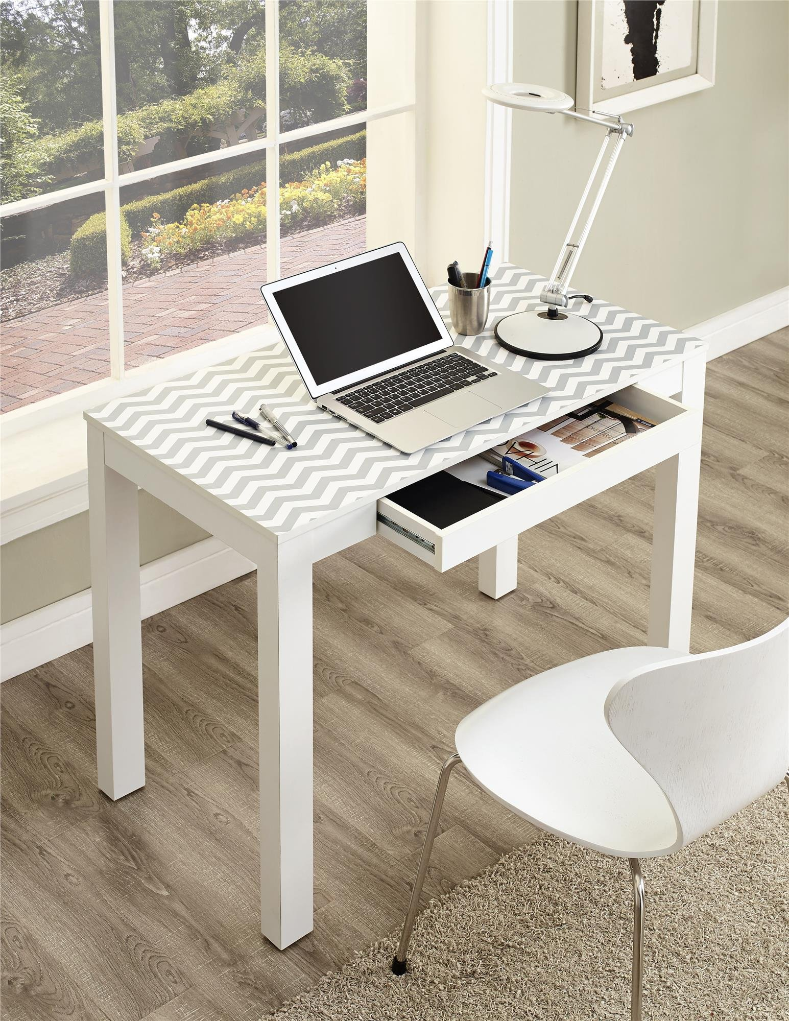 Ameriwood Home Parsons Desk Drawer, White/Gray Chevron by Ameriwood Home (Image #9)