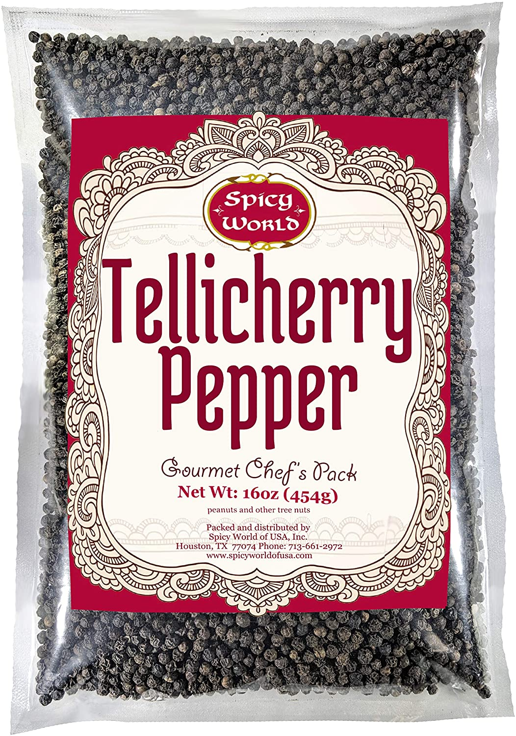 Spicy World Whole Black Peppercorns Tellicherry 16 Oz - Steam Sterilized -Non-GMO Black Pepper - Grinder Refill