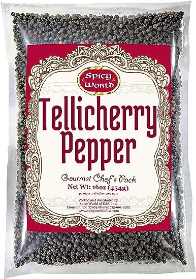 Spicy World Whole Black Peppercorns Tellicherry 16 Oz - Steam Sterilized  -Non-GMO Black Pepper -