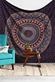 Indian Elephant Peacock Mandala Tapestry ,Indian Hippie Tapestry, Wall Hanging,Bohemian Wall Hanging,New Age Tapestry,Mandala Tapestry by Craftozone (Single (220x140 cms))