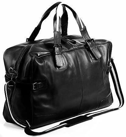 BACCINI® borsa da viaggio vera pelle ROBERTO grande borsa da weekend borsa da sport uomo cuoio nero