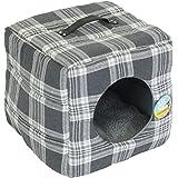Me & My Soft Cat Box Igloo - Grey Check Tartan