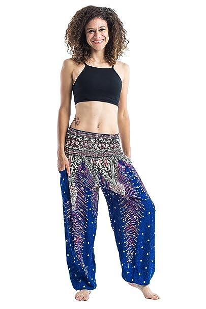 91d0153d078 Harem Pants Unisex Peacock Feather High Cut Harem Pants for Men   Women in  Blue