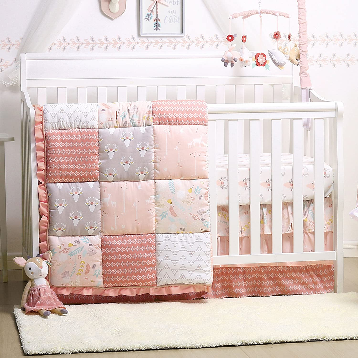 Woodland Whimsy 4-Piece Baby Girl Forest Animal Theme Crib Bedding Set Farallon Brands BSPS-WWH