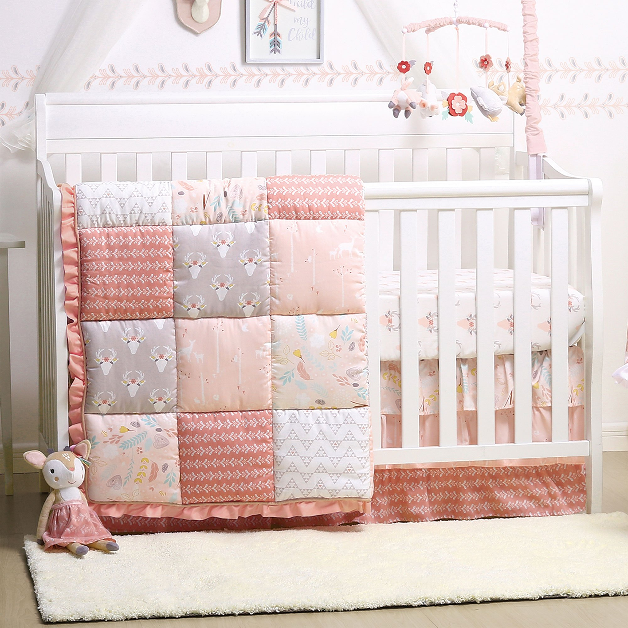 Woodland Whimsy 4-Piece Baby Girl Crib Bedding Set by The Peanut Shell