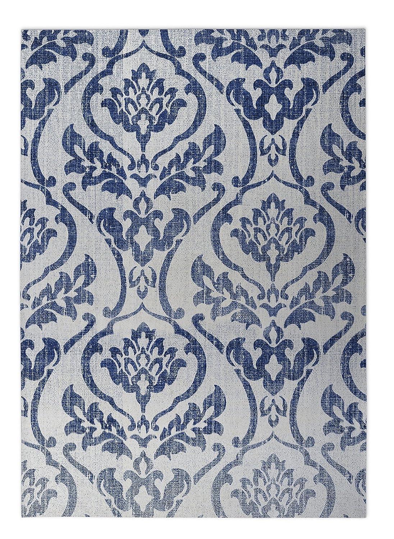 Blue//White - SALTWATER Collection Size: 24x36x0.2 - TELAVC8138FM23 KAVKA Designs Seabury Blue Indoor-Outdoor Floor Mat,