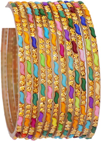 Ethnic Gorgeous 12 Color Indian Bangles Box Traditional Partywear Jewelry