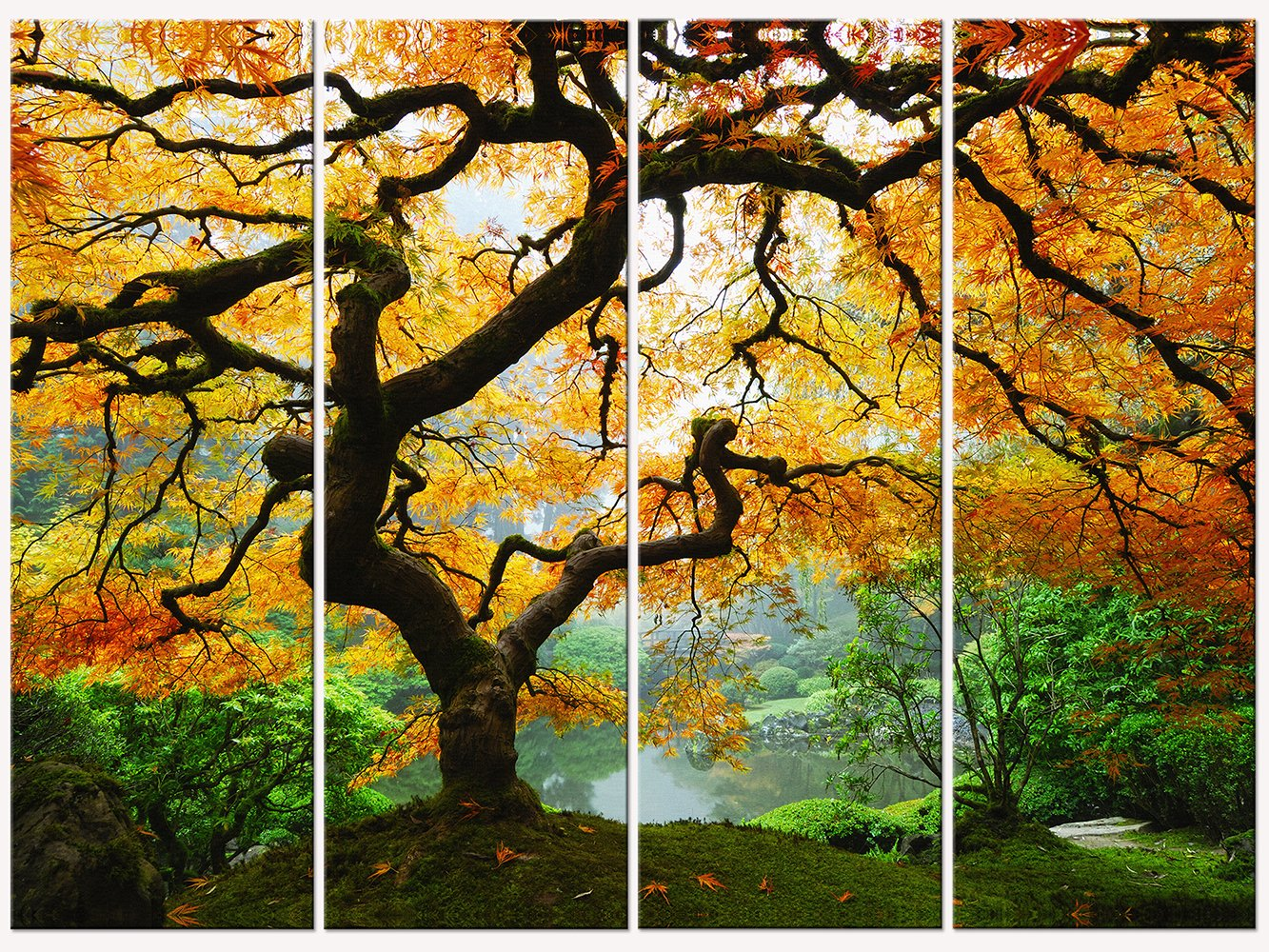 Startonight Canvas Wall Art Amazing Maple, Trees USA Design for Home Decor, Dual View Surprise Wall Art Set of 4 Total 35.43 X 47.2 Inch 100% Original Art Painting! by Startonight
