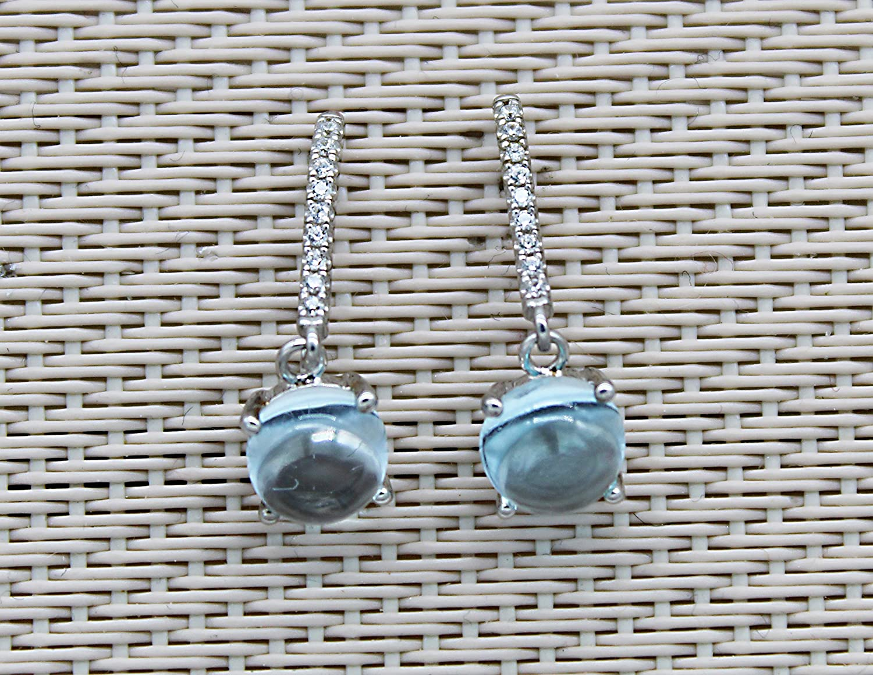 Pendientes Cabochons Topazes Azul Diamantes Cz Plata 925 Rodio plateado. Pendientes colgantes. Joyas con piedras para mujer