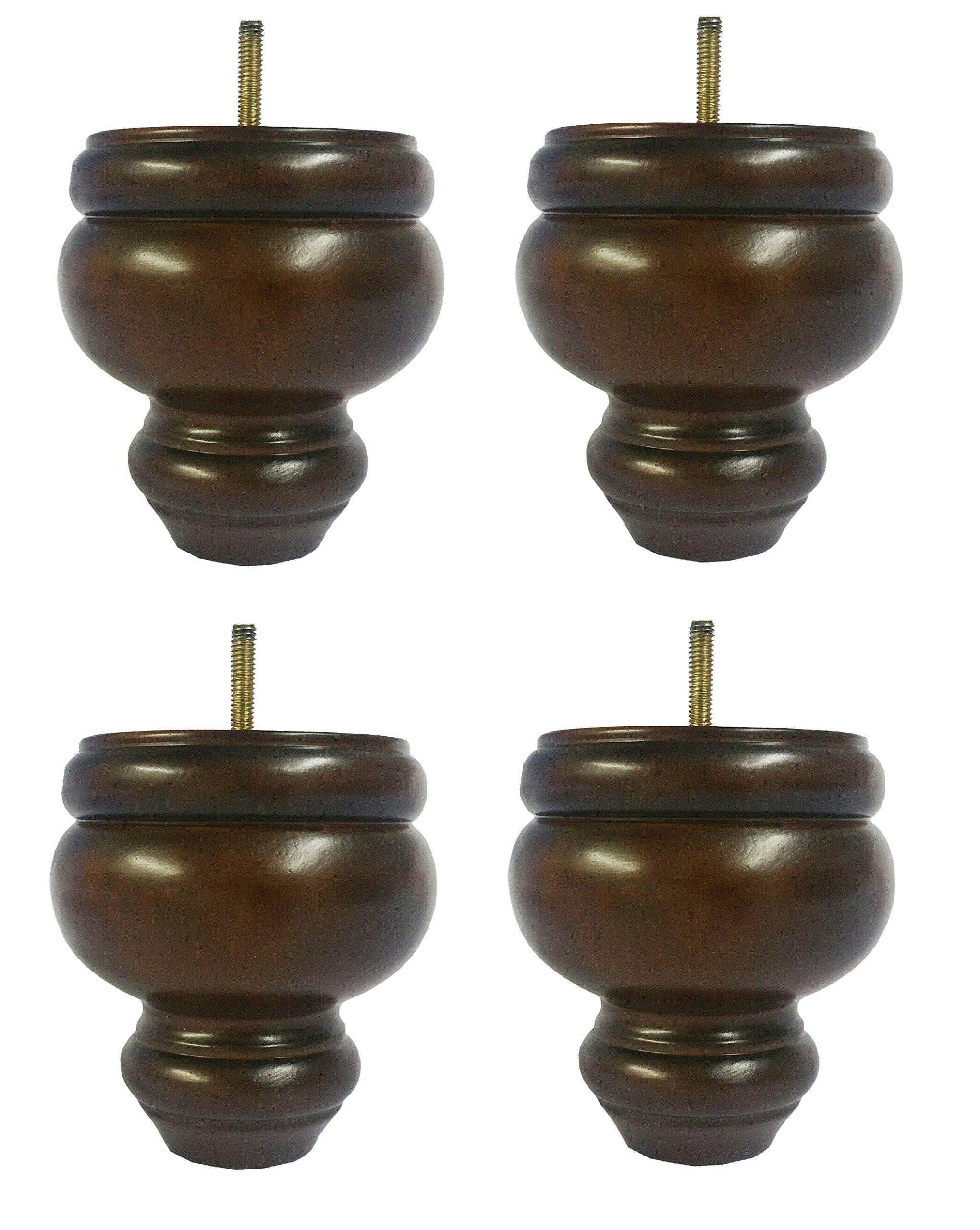 Elegent Upholstery 5'' Buns Dark Walnut Sofa/Couch/Ottoman Wood Legs 5/16 Thread - Set of 4