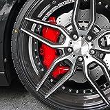 JOM Car Parts & Car Hifi GmbH JOM 200000 Kit peinture d'étrier de frein, rouge, 1 composante, peinture d'étrier de frein 75ml, nettoyant de freins 250ml, brosse et gants