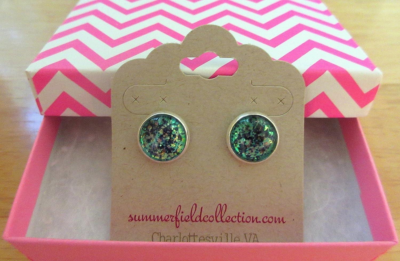Silver-tone Mermaid Tail Glitter Glass Stud Earrings Hand-painted 12mm