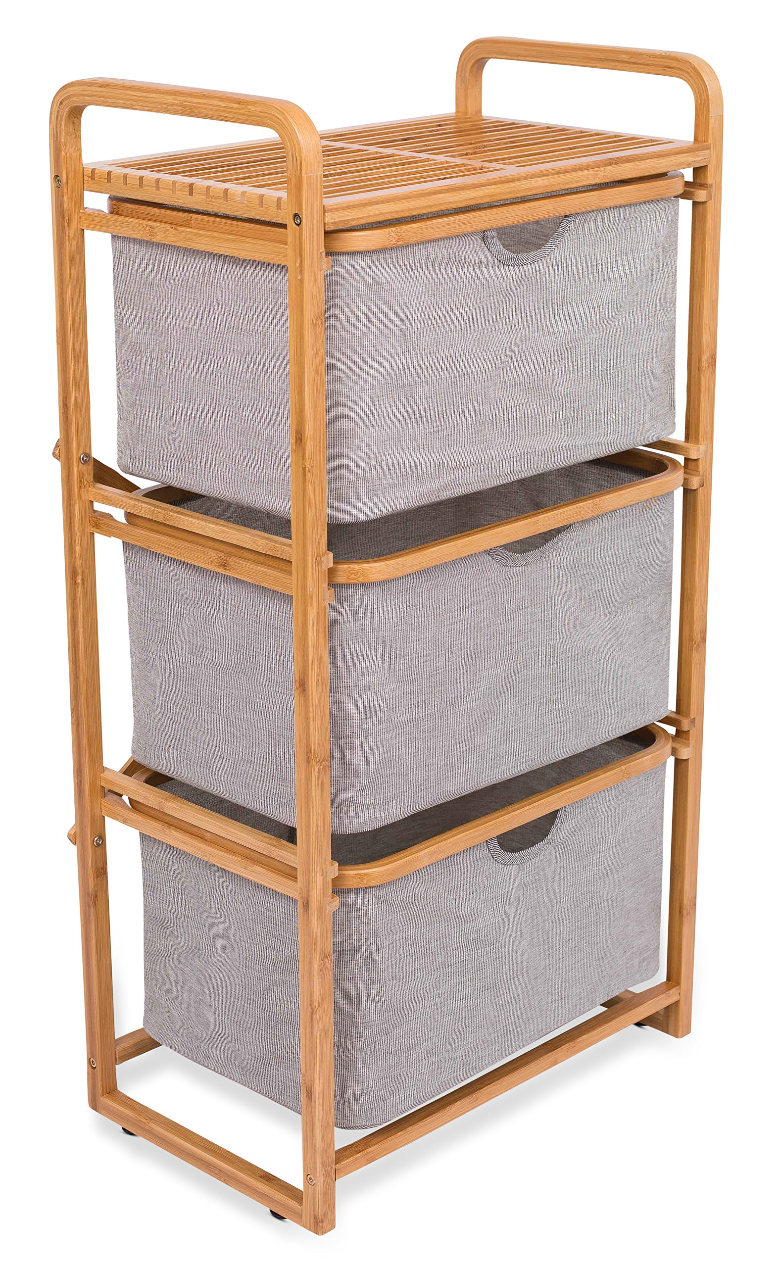BirdRock Home 3 Drawer Bamboo Dresser   3 Tier Sliding Cloth Storage Bins Chest of Drawers   Removable Drawers   Grey