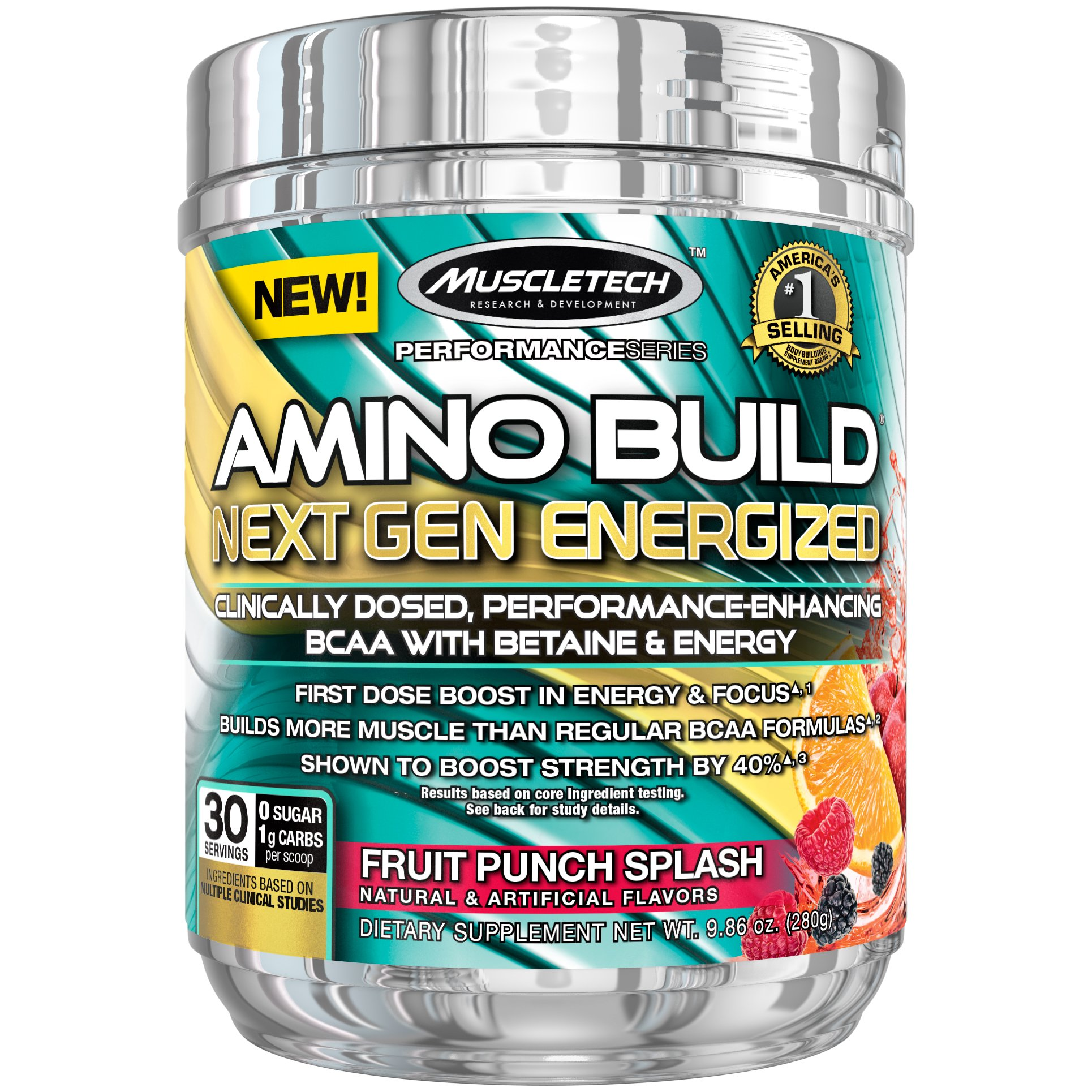 MuscleTech Amino Build Next Gen Energized, Best BCAA Amino Acids Formula with Energy, Fruit Punch, 10.03 oz. (284g)