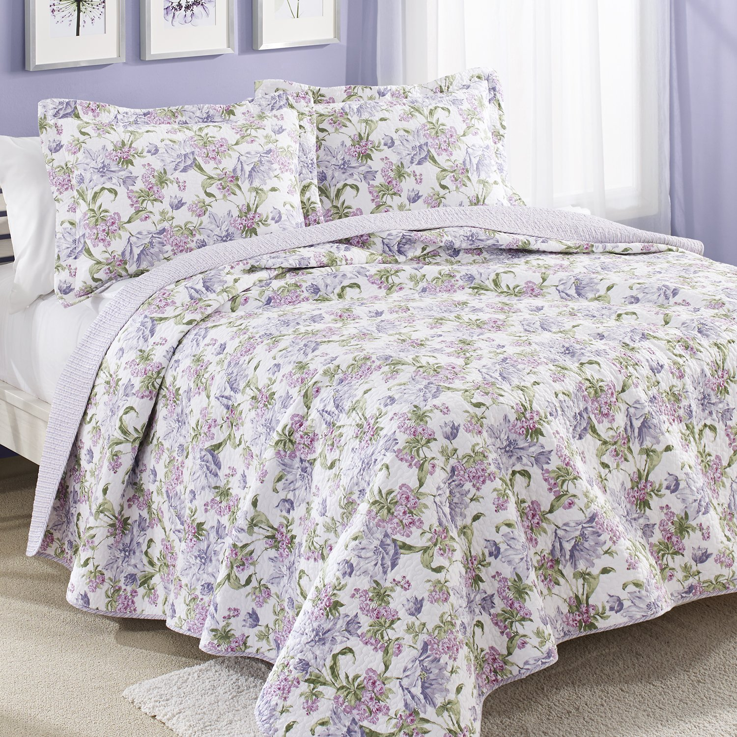 Plum and green bedding - Laura Ashley Sherborne Cotton Reversible Quilt