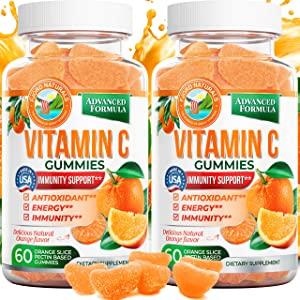 Vitamin C Gummies Chewable Vegan Plant Based(2-Pack) by Fjord Naturals-250MG of Vitamin C| Adults & Kids| Promotes Healthy Immune System| Antioxidant Gummy| Gluten Free | Made in USA
