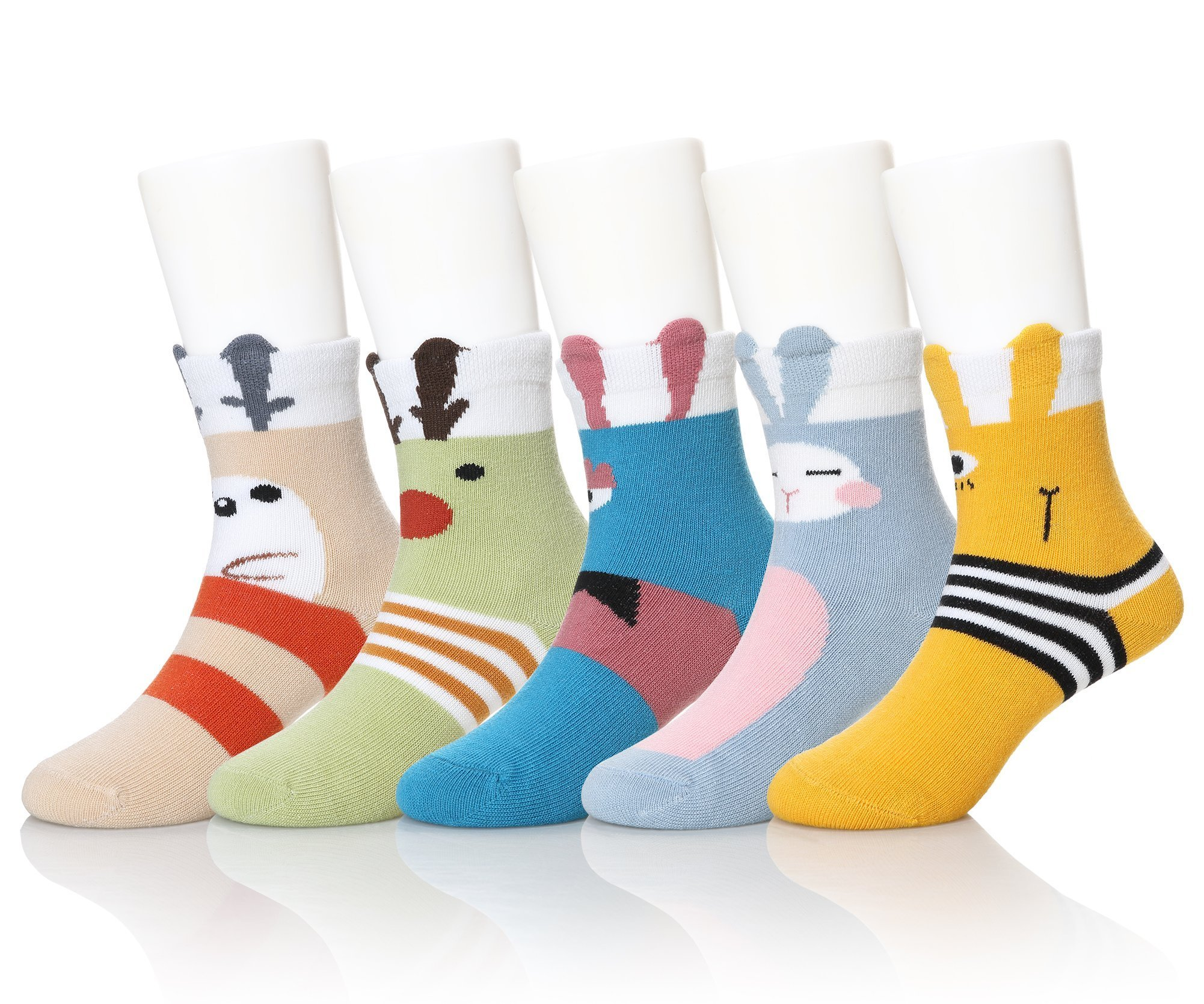 SEEYAN Kids Novelty Cute Cartoon Animals Cotton Ankle Baby Boys Girls Toddler Breathable Socks 5 Pairs (Christmas Animal, 3-5)