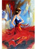 Wieco Art - Flying Skirt Modern Artwork Abstract Dancing People Oil Paintings on Canvas Wall Art for Home Decorations Wall Decor, Stretched and Framed Art work, 24inch by 36inch