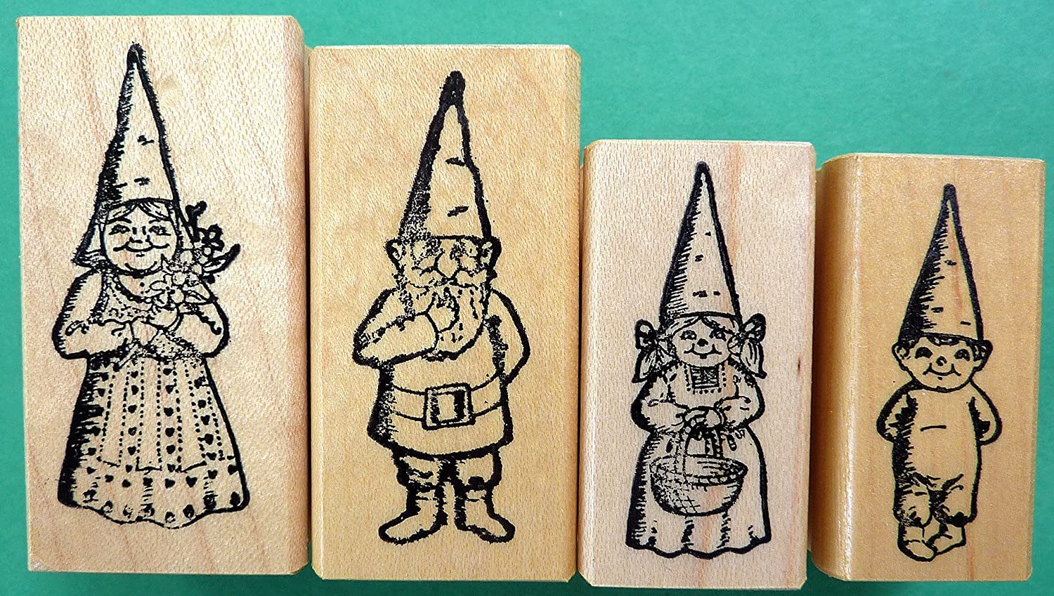Gnome Family, 4-Pc. Rubber Stamp Set, Wood Mounted The StampCrafter