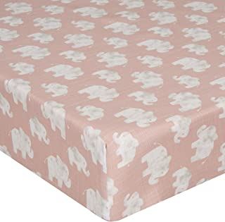product image for Glenna Jean Crib Fitted Sheet, Elephant Herd Blush, Pink, Mini
