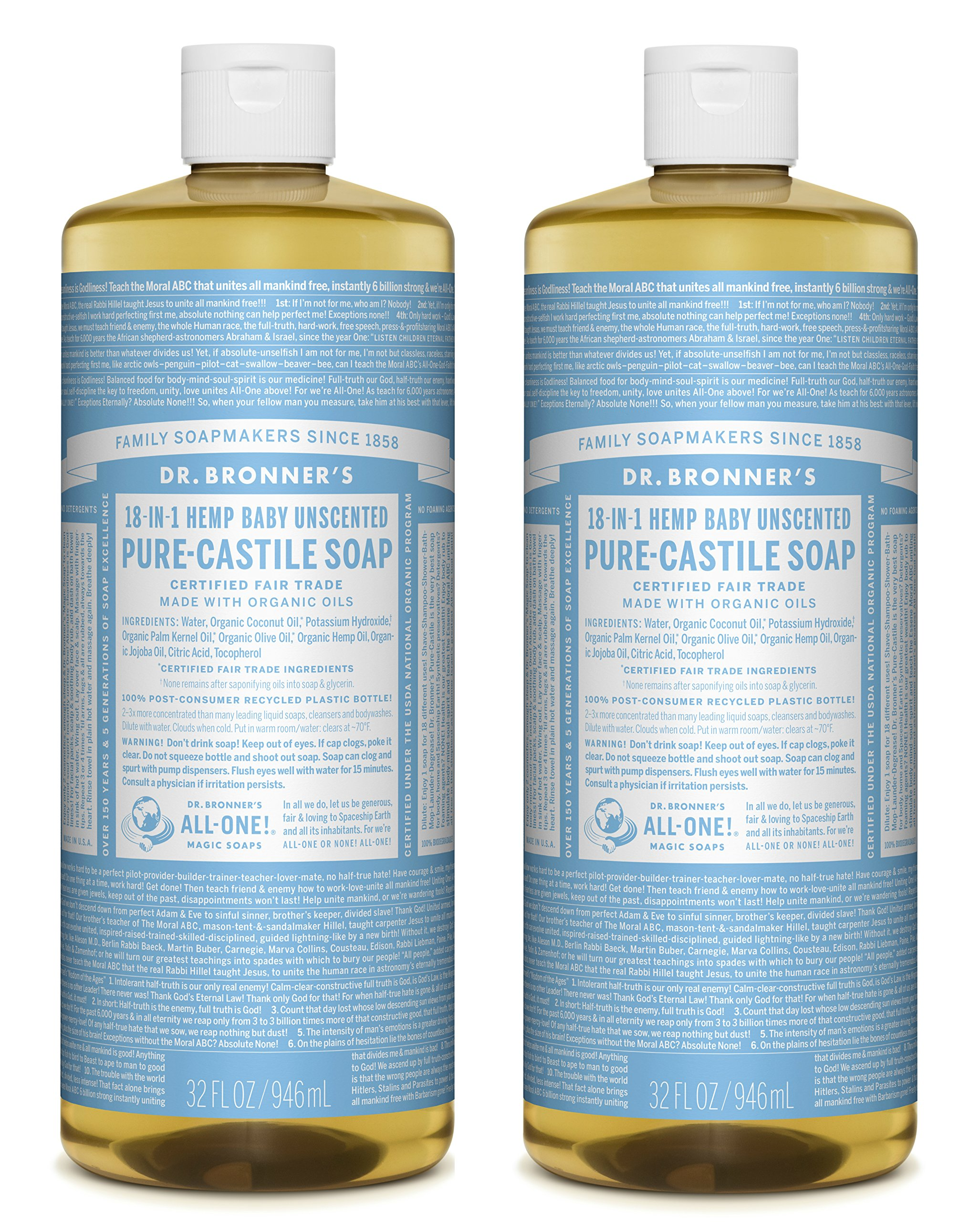 Dr. Bronner's Pure-Castile Liquid Soap Value Pack - Baby Unscented 32oz. (2 Pack)
