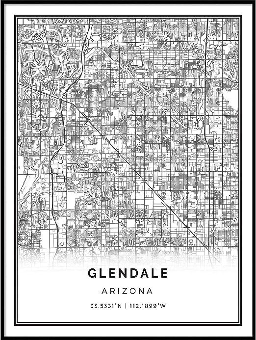 Amazon Com Squareious Glendale Map Poster Print Modern Black And White Wall Art Scandinavian Home Decor Arizona City Prints Artwork Fine Art Posters 18x24 Posters Prints
