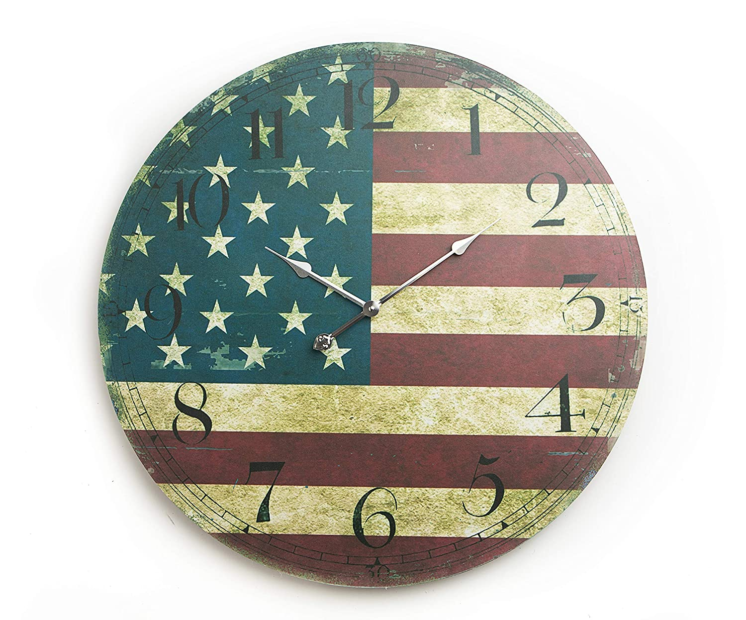 Mark One Home Goods Rustic Farmhouse Decorative Wall Clock 12 Inch, Yellow//Green//Blue