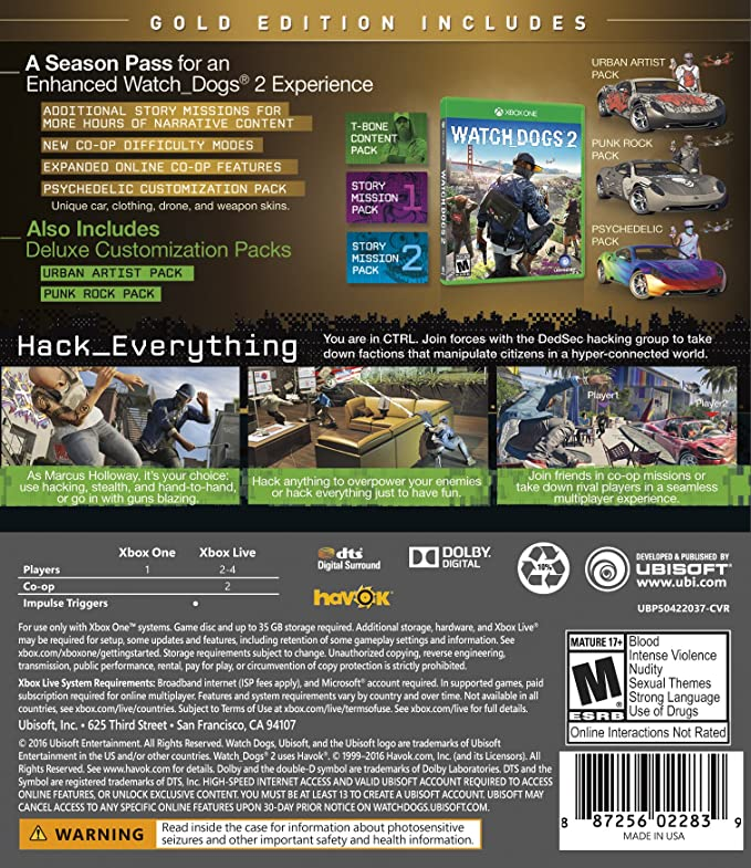 Amazon.com  Watch Dogs 2  Gold Edition (Includes Extra Content + Season  Pass subscription) - Xbox One  Computers   Accessories b776ac440