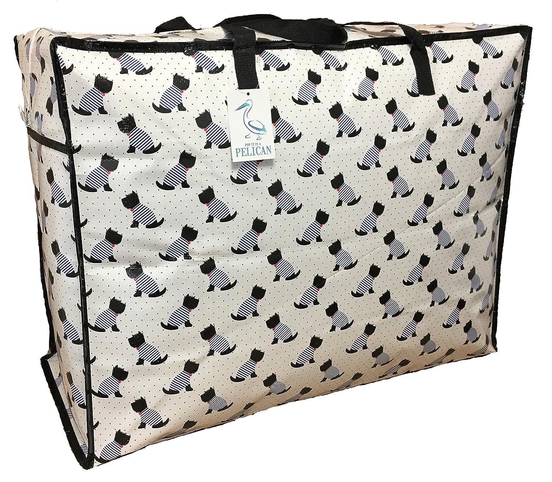 Pelican Lサイズ 収納バッグ 24インチ 白いスコッティードッグ柄。 丈夫で耐久性のあるファスナー付きバッグ。 B07MFZ2QJK