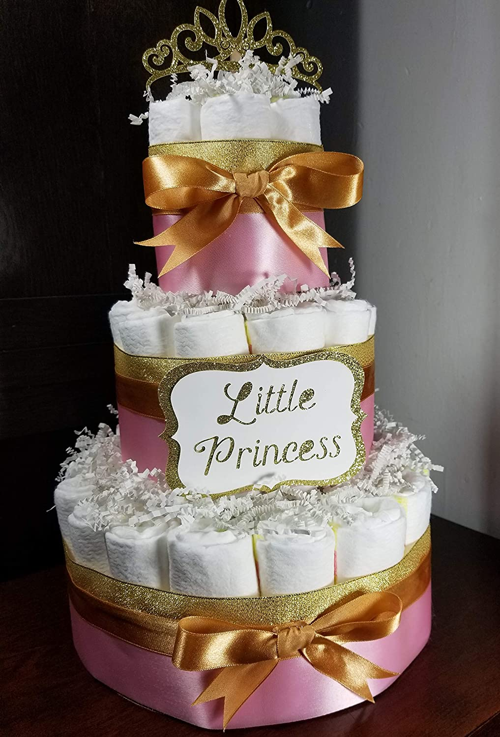 Little Princess Diaper Cake Pink and Gold Baby Shower Gift Custom 3 Tier