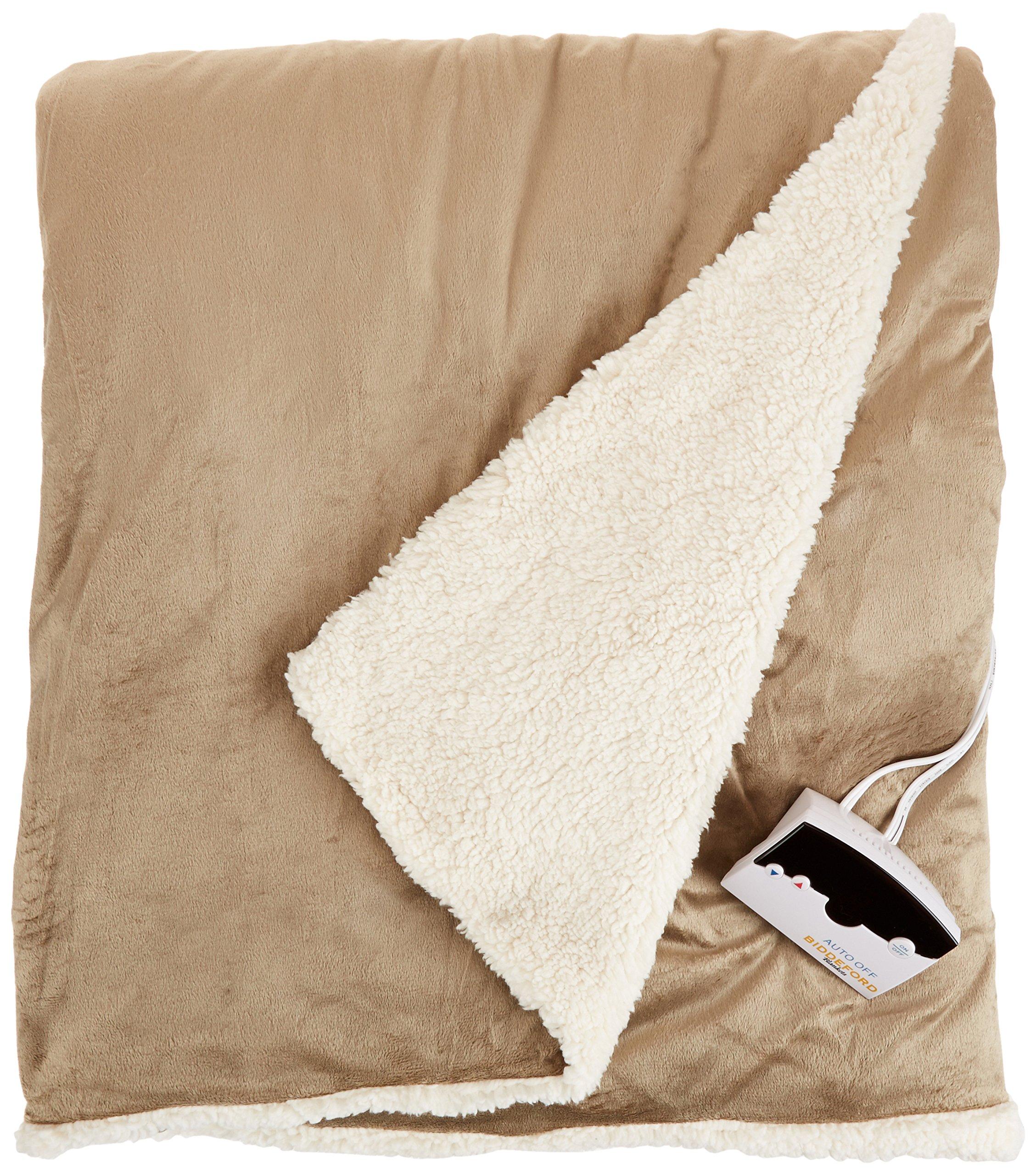 Biddeford 6001-9051136-713 Electric Heated Micro Mink/Sherpa Blanket, Full, Linen by Biddeford