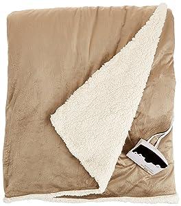 Biddeford 6001-9051136-713 Electric Heated Micro Mink/Sherpa Blanket, Full, Linen