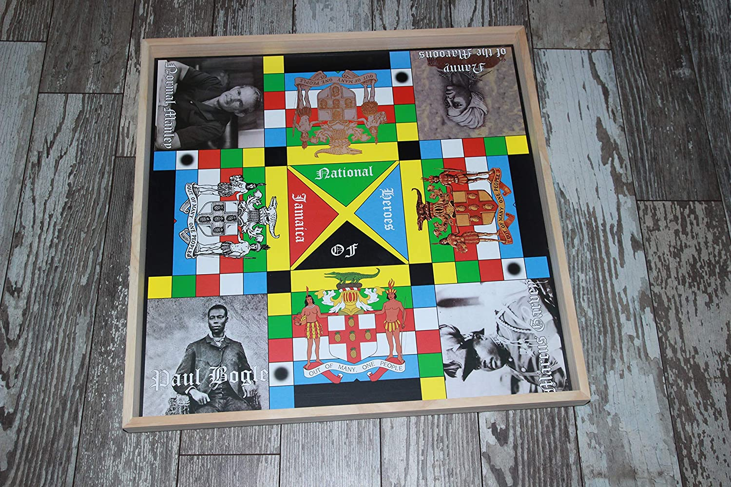 Name Print Error   2ft x 2ft Single Side Multi-Player Board Game Family Game Night Game Pieces /& Dice Jamaican Ludo Heroes Edition
