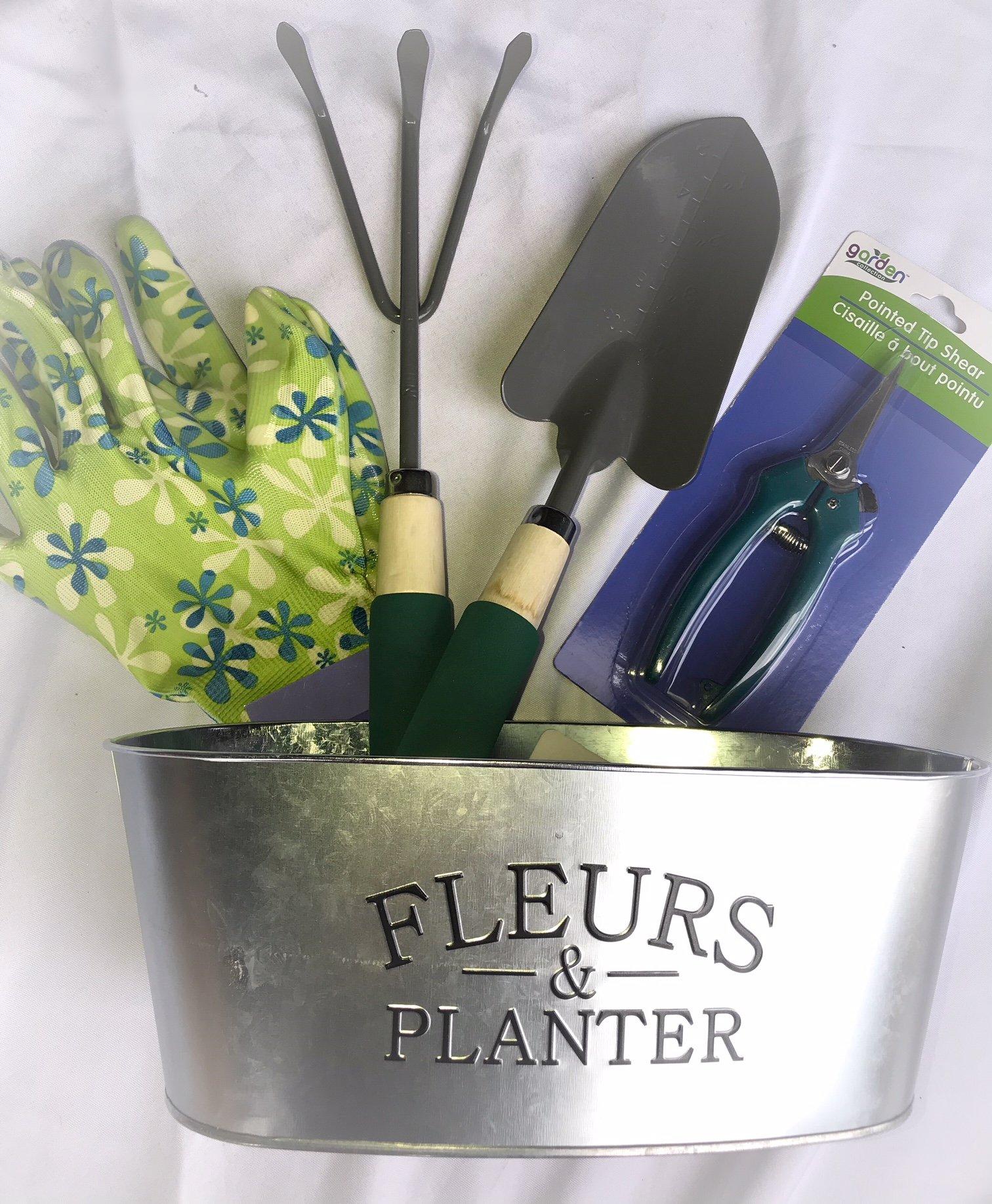 Garden Basket Bundle - Gloves, Trowel, Foam Grip Cultivator, Serrated Shears (Teal Green)