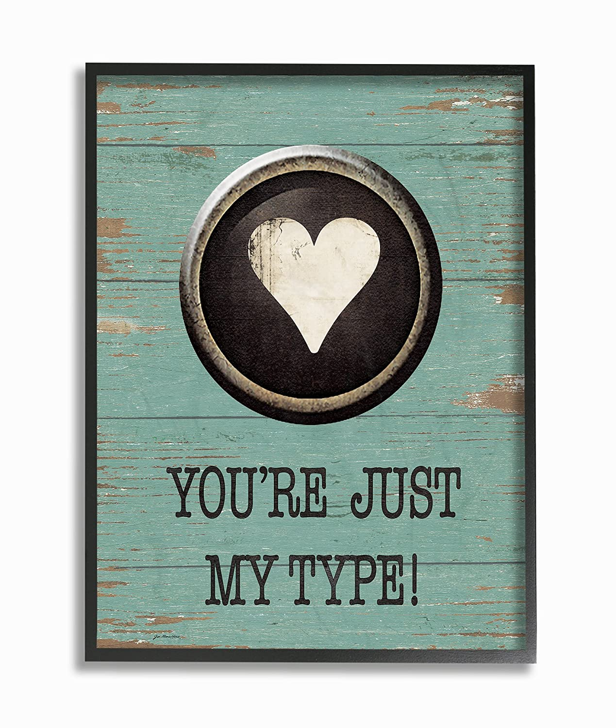 10 x 0.5 x 15 Proudly Made in USA Stupell Industries Just My Type Typewriter Key Heart Wall Plaque Art