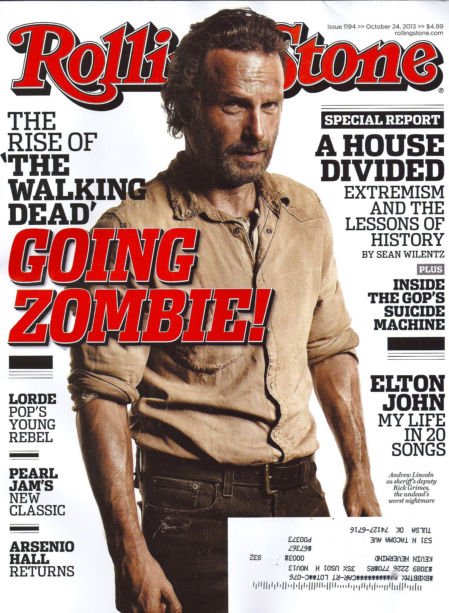 Andrew Lincoln, Rick Grimes, The Walking Dead, John Boehner, Elton John,  Arctic Monkeys, Sleepy Hollow  Rolling Stone Magazine: Wenner Media Llc: