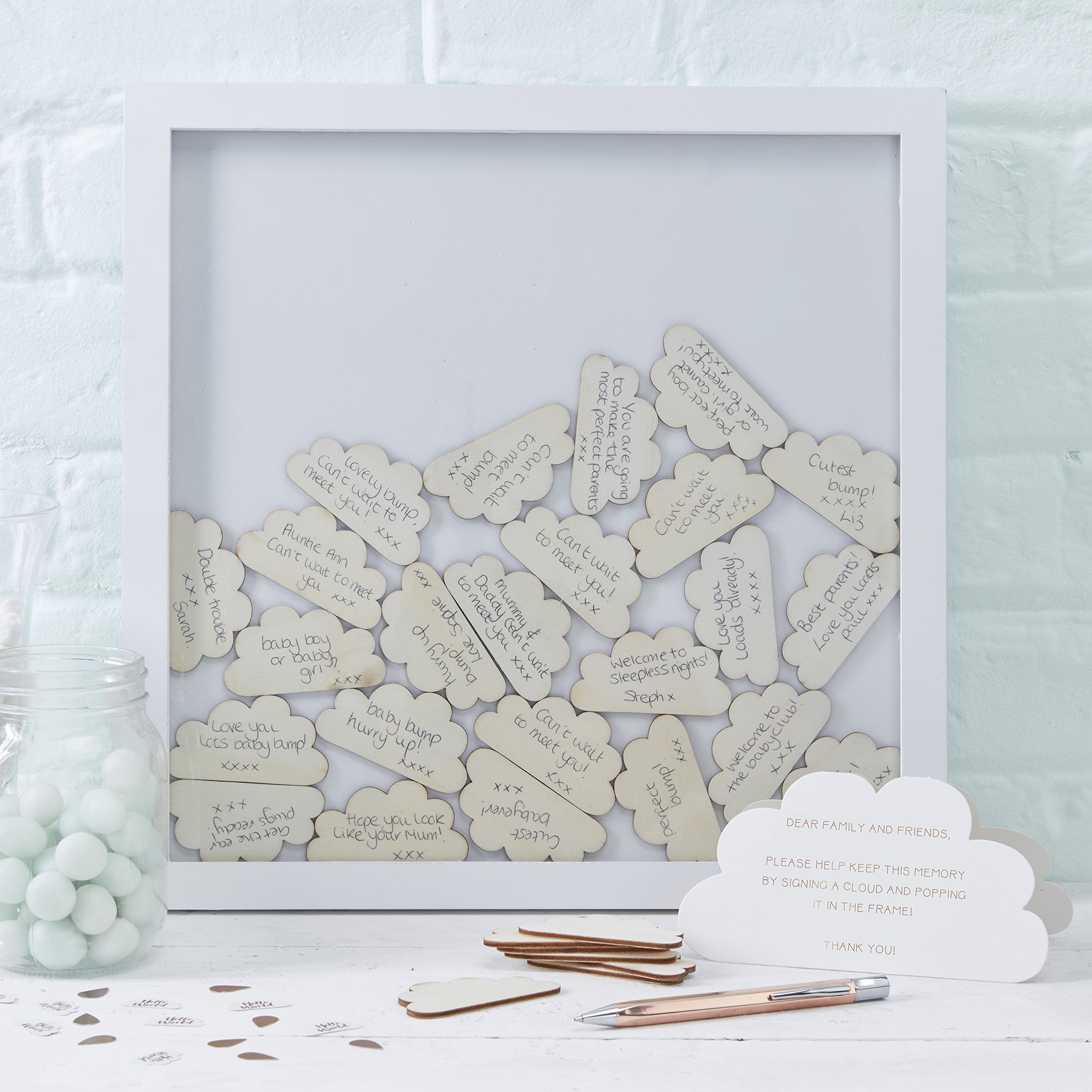 Ginger Ray Cloud Drop Top Frame Baby Themed Guest Book - Hello World