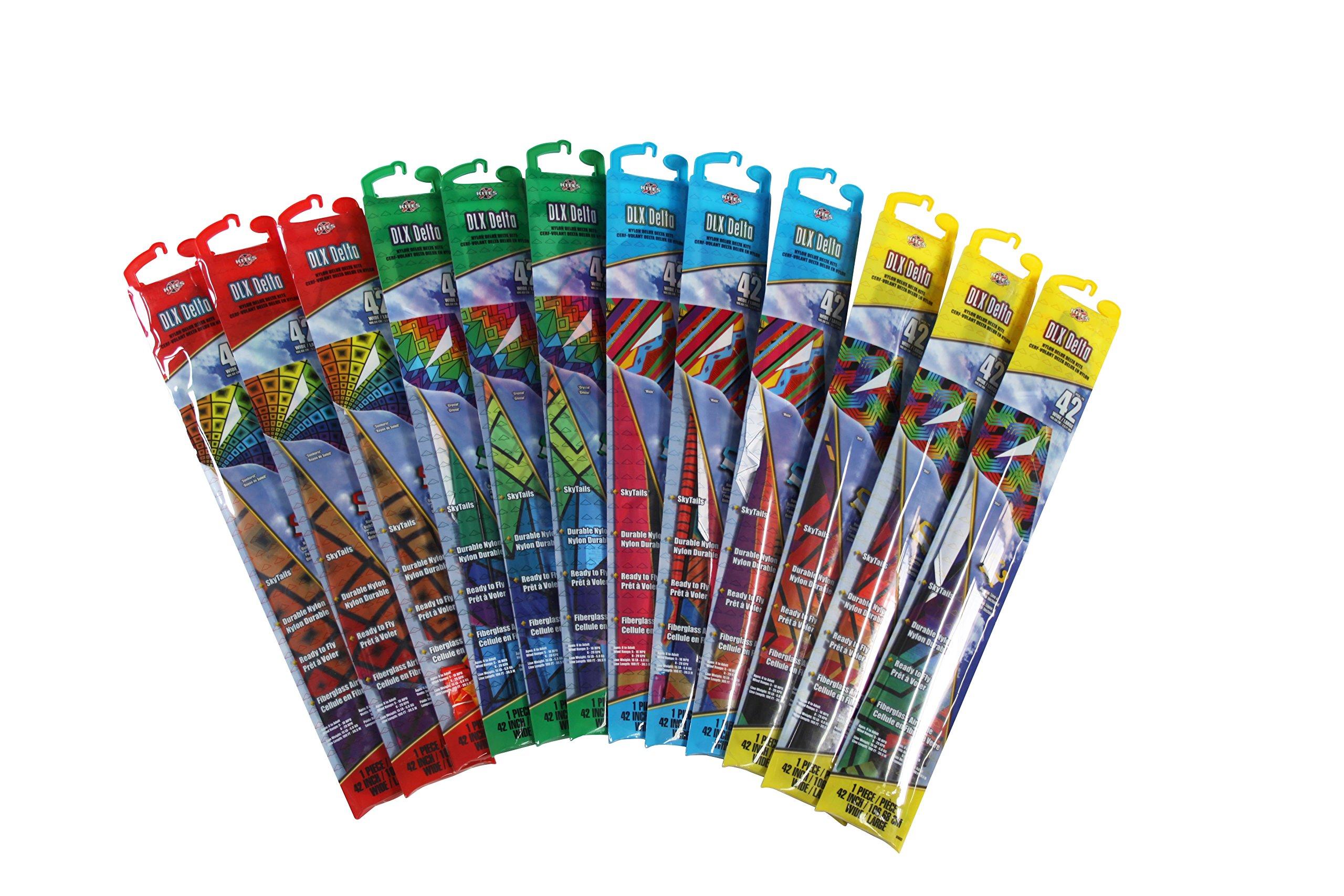 X-Kites Deluxe Delta Nylon Kite Assortment Pack (12-Pack), 42'' by X-Kites (Image #1)