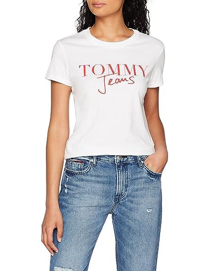 281bcac6b30a Tommy Jeans Femme Script Logo T-Shirt Manches Courtes Blanc (Bright White  113) X-Large  Amazon.fr  Vêtements et accessoires