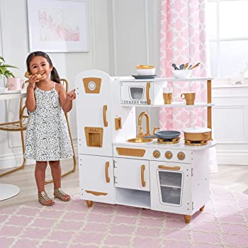 KidKraft Modern Play Kitchen with Gold Accents & 27Piece Cookware Set